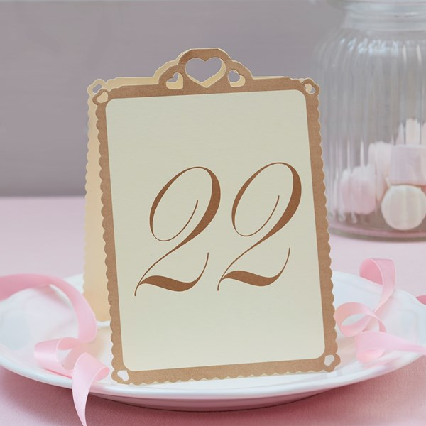 Picture of Heart Table Numbers Ivory & Gold - Love Struck - 13 - 24