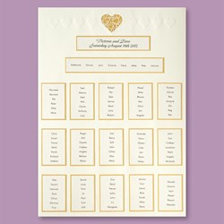 Picture of Ivory/Gold Lace Heart Table Plan - A2