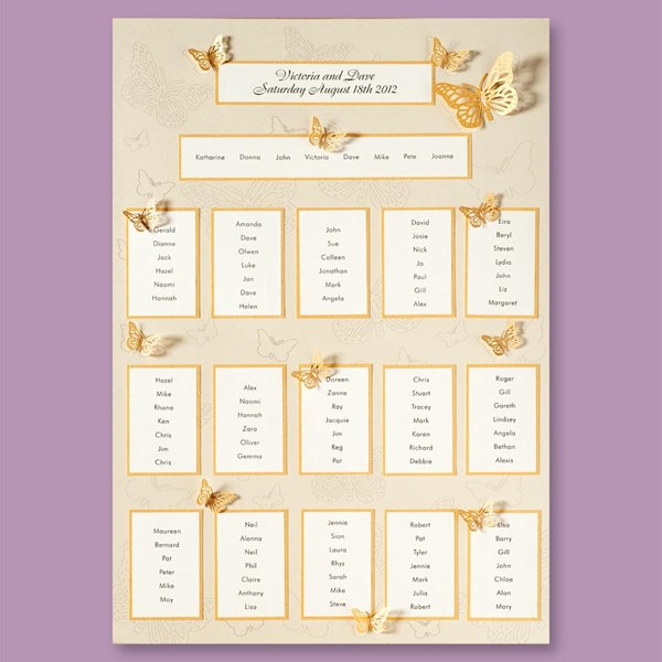 Picture of Pearl/Gold 3D Stencil Butterfly Table Plan - A2