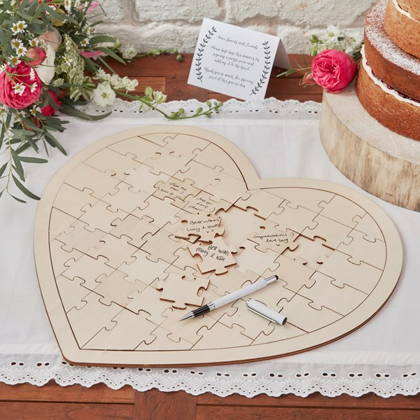 Picture of Wooden Heart Jigsaw Alternative Guest Book