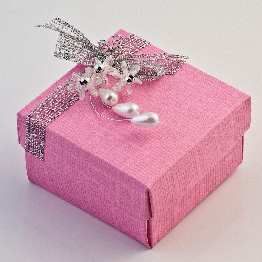 Bright Pink Silk Favour Box | UK Wedding Favours