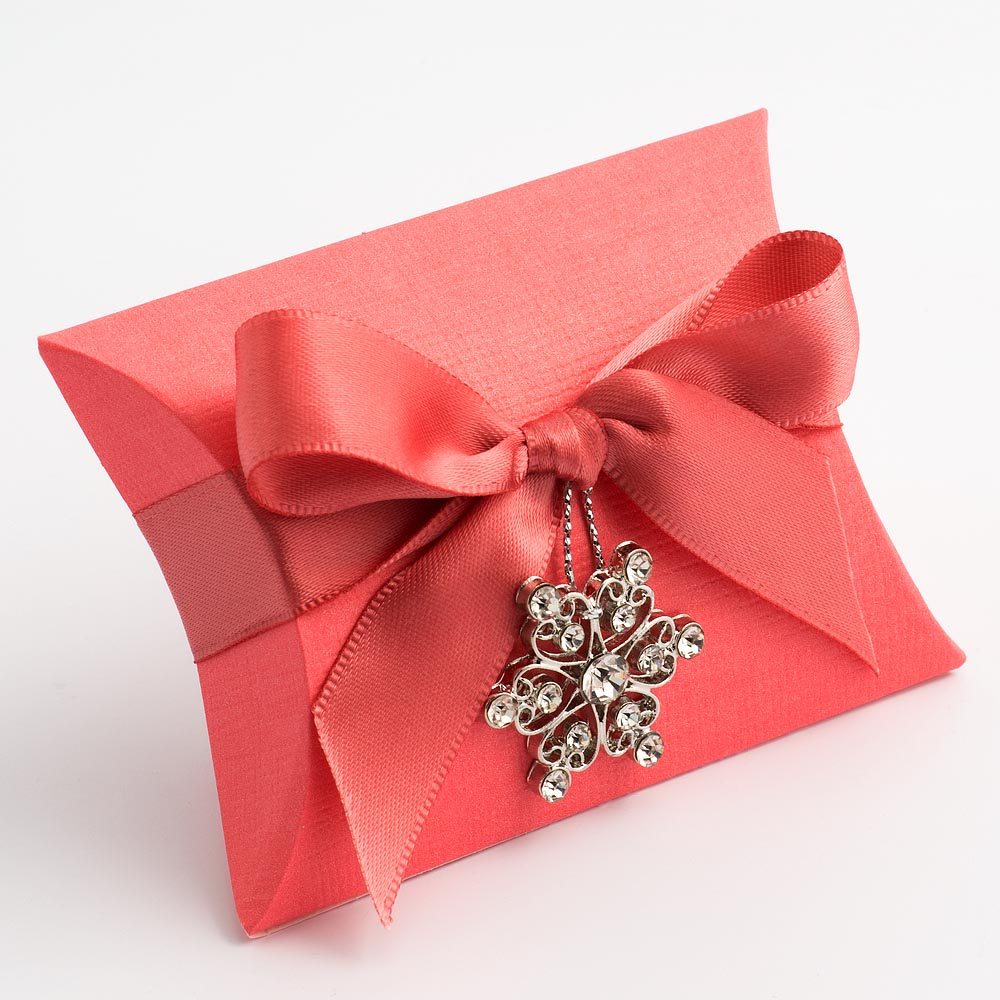 Coral Silk Favour Box | UK Wedding Favours