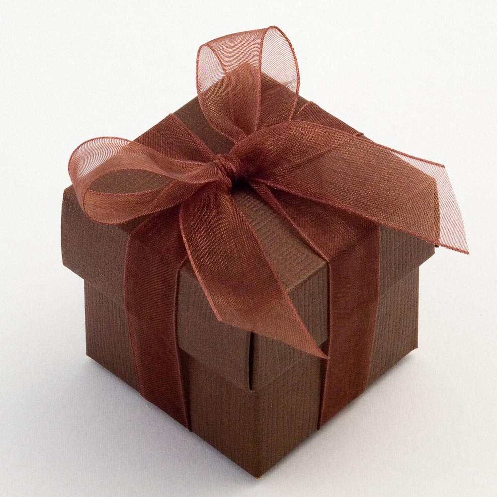 Brown Silk Favour Box | UK Wedding Favours