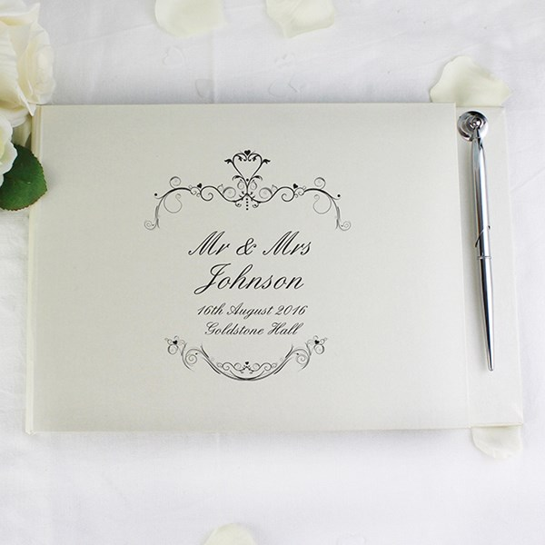 Picture of Ornate Swirl Guest Book & Pen