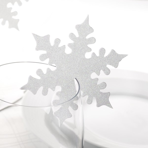 Picture of Shimmering Snowflake - Place Card for Glass