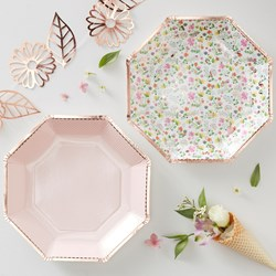 Picture of Paper Plates - Rose Gold Foiled Floral - Ditsy Floral