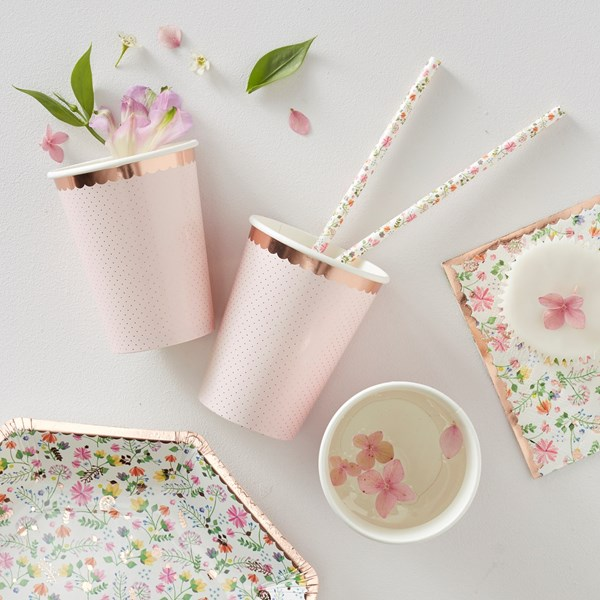 Picture of Paper Cups - Rose Gold Polka Dot - Ditsy Floral