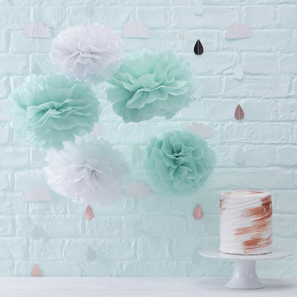 Picture of Pom-Poms - Mint & White - Hello World