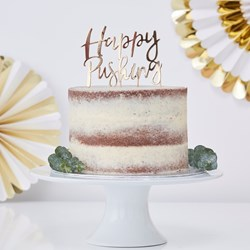 Picture of Happy Pushing Gold Cake Topper - Oh Baby!