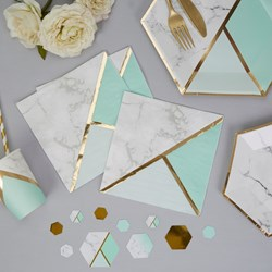 Picture of Paper Napkins - Colour Block Marble Napkin - Mint