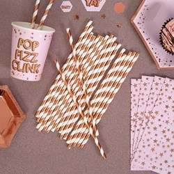 Picture of Paper Straws - Rose Gold Foil Stripes