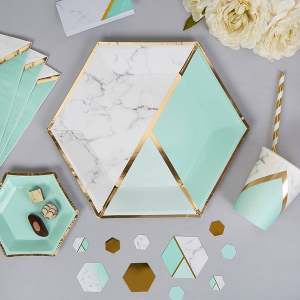Picture of Large Paper Plates - Colour Block Marble - Mint