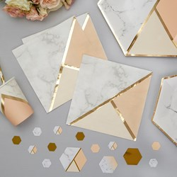 Picture of Paper Napkins - Colour Block Marble Napkin - Peach