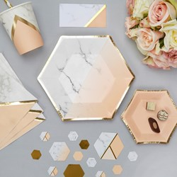 Picture of Medium Paper Plates - Colour Block Marble - Peach