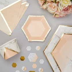 Picture of Small Paper Plates - Colour Block Marble - Peach