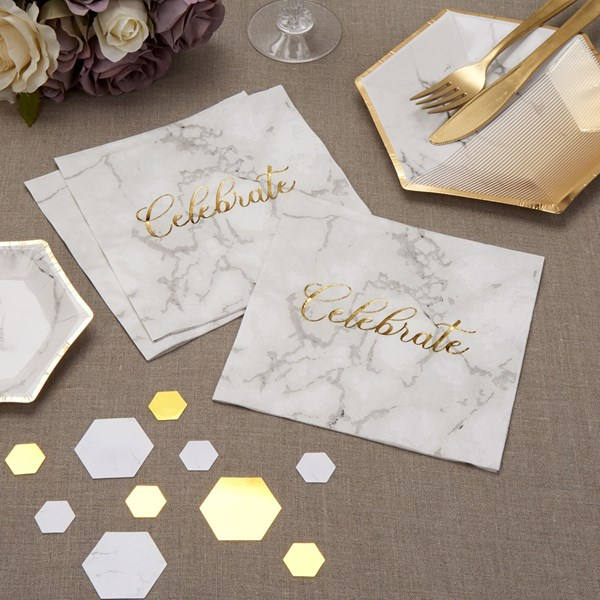 Picture of Paper Napkins - Scripted Marble