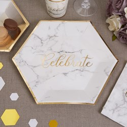 Picture of Large Paper Plates - Scripted Marble Plate