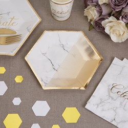 Picture of Medium Paper Plates - Scripted Marble