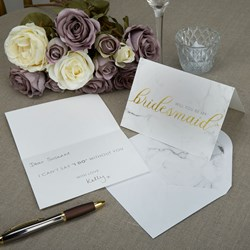 Picture of Bridesmaid Cards+Envelopes - Scripted Marble