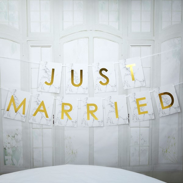 Picture of Just Married Bunting - Large - Scripted Marble