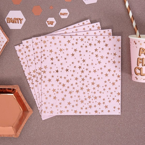 Picture of Paper Napkin - Pink & Rose Gold Foil - Glitz & Glamour