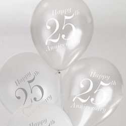 Picture of 25th Wedding Anniversary Balloons - White/Silver
