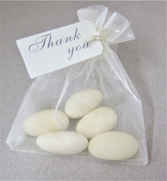 Picture of Message Voile Bag Ivory Almond Favour