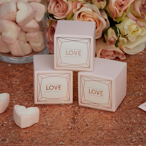 Picture of Geo Blush Rose Gold Favour Box