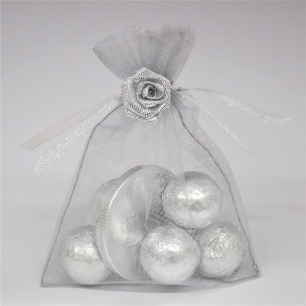 Picture of Just Married Silver Coin Chocolate Favour Bag