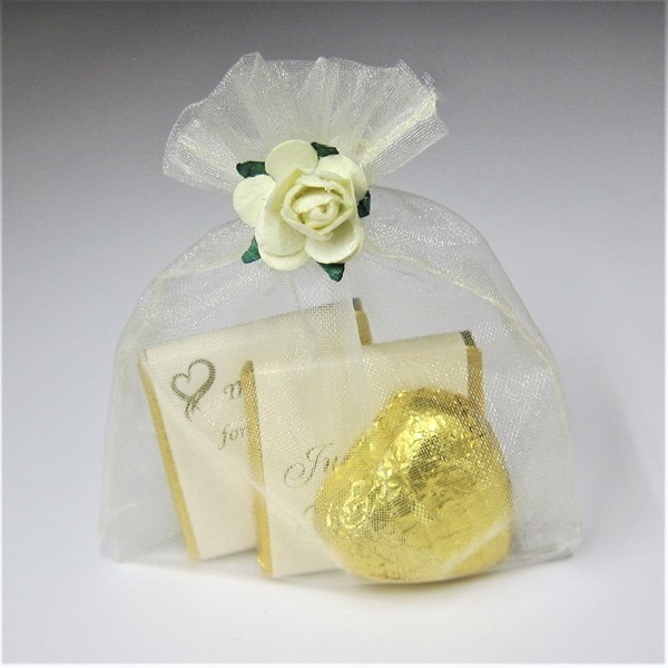 Picture of Ivory Voile Bag Chocolate Favour