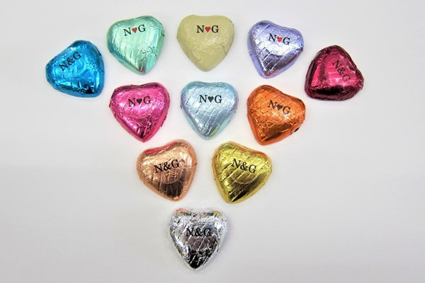 Picture of Personalised Chocolate Foil Hearts x25