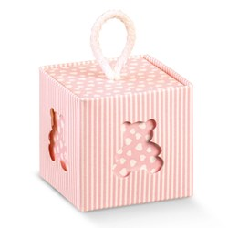 Picture of DIY Pinstripe Pink Teddy Cube Box