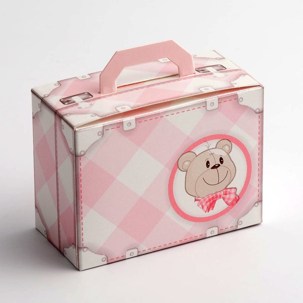 Picture of DIY Teddy Bear Suitcase Favour Box Pink