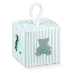 Picture of DIY Pinstripe Blue Teddy Cube Box