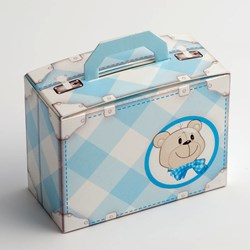 Picture of DIY Teddy Bear Suitcase Favour Box Blue