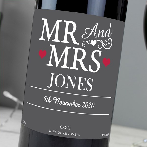 Picture of Personalised Mr & Mrs Red Wine