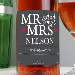 Picture of Personalised Mr & Mrs Rose Wine
