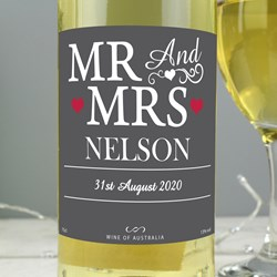 Picture of Personalised Mr & Mrs White Wine