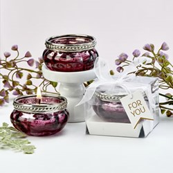 Picture of Burgundy Rose Vintage Glass Tealight