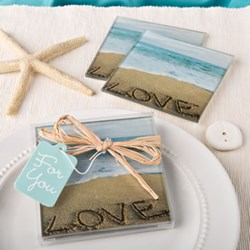 Picture of Beach Love Glass Coaster Set