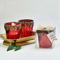 Picture of Red Mercury Glass Candle Favour