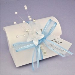 Picture of Winter Sparkle White Linen Chest Favour Box