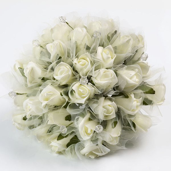Picture of Bouquets - Large Ivory Roses with Crystal Posy