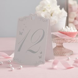 Picture of Butterfly Table Numbers White/Silver - Flutter-by - 1 -12