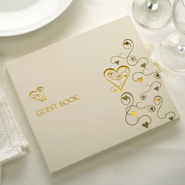 Picture of Contempory Hearts Guest Book Gold Ivory