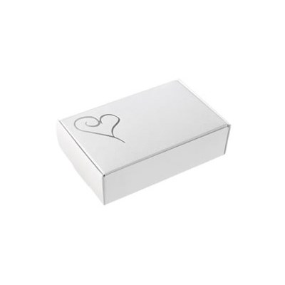 Contemporary Heart Cake Boxes In White Silver Uk Wedding Favours