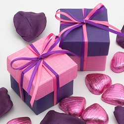 Picture of DIY Two Tone Boxes in Bright Pink & Purple Silk