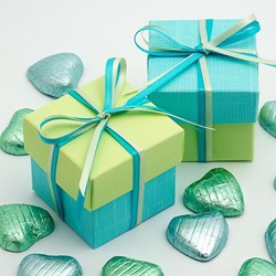 Picture of DIY Two Tone Boxes in Celeste Blue & Light Green Silk