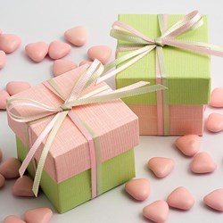Picture of DIY Two Tone Boxes in Pink & Light Green Silk