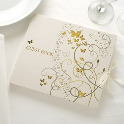 Picture of Elegant Butterfly Guest Book Gold Ivory